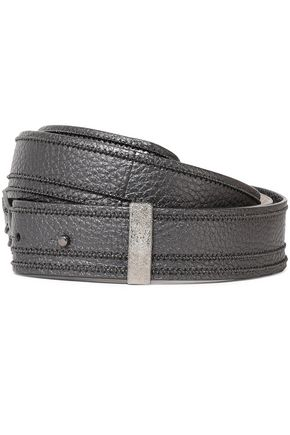 BRUNELLO CUCINELLI Metallic bead-embellished pebbled-leather belt