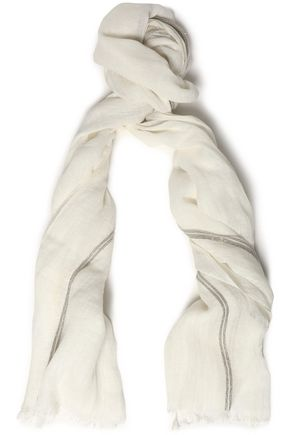 BRUNELLO CUCINELLI Bead-embellished frayed linen scarf