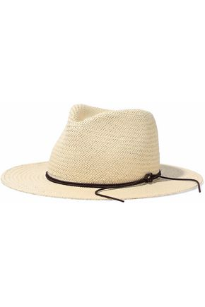 RAG & BONE Leather-trimmed straw fedora