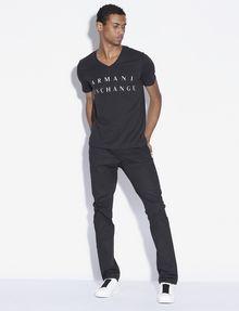 ARMANI EXCHANGE CLASSIC MINIMAL LOGO V-NECK Logo T-shirt [*** pickupInStoreShippingNotGuaranteed_info ***] d
