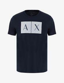 ARMANI EXCHANGE CAMISETA CON CUELLO A LA CAJA Y LOGOTIPO TESELADO Camiseta con logotipo Hombre r