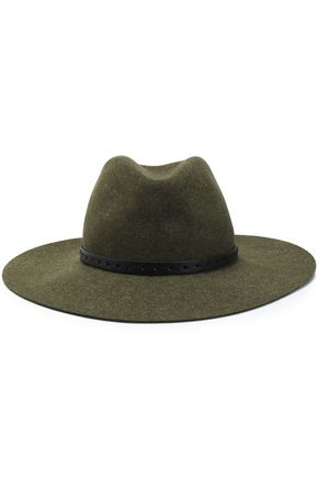 RAG & BONE Leather-trimmed brushed wool-felt fedora