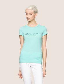ARMANI EXCHANGE GLITTER SCRIPT TEE Logo T-shirt Woman f
