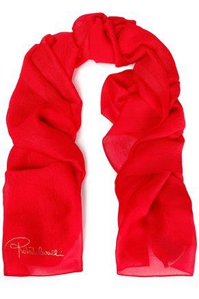 ROBERTO CAVALLI Silk-blend jacquard scarf