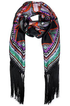 ROBERTO CAVALLI Fringed printed silk scarf