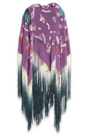 ROBERTO CAVALLI Fringe-trimmed embroidered silk wrap