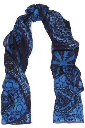 ROBERTO CAVALLI Printed modal and cashmere-blend gauze scarf