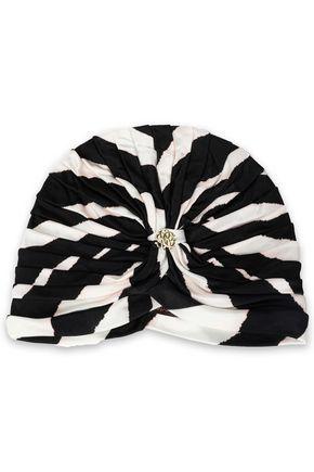 ROBERTO CAVALLI Ruched leopard-print jersey turban