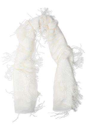 ROBERTO CAVALLI Fringed fil coupé chiffon scarf