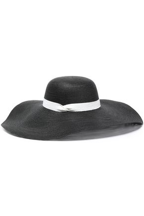 IRIS & INK Maddison grosgrain-trimmed faux straw hat