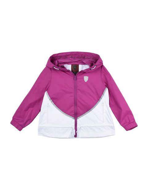 Rain jacket for girls with gathering at the sides