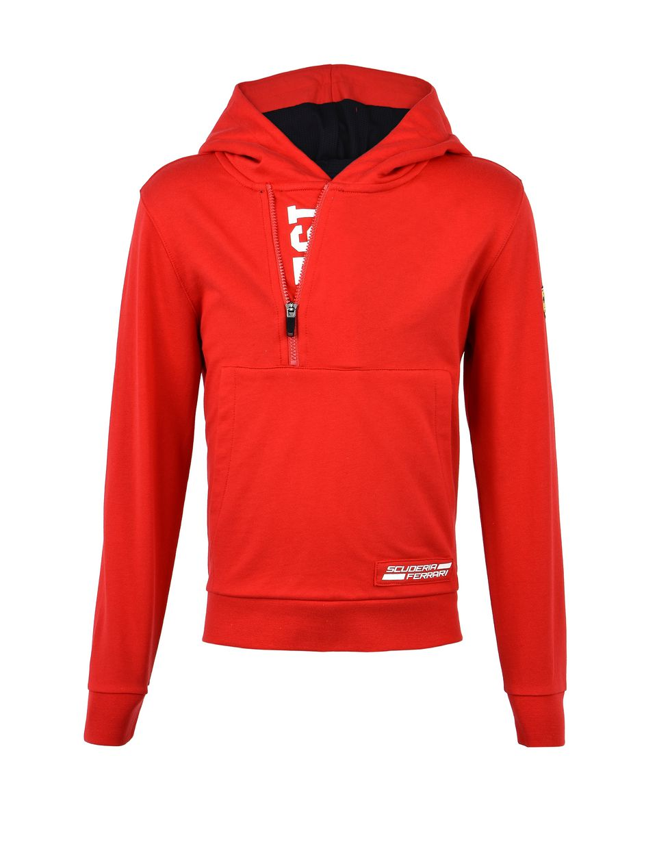 Scuderia Ferrari Online Store - Red hooded sweatshirt for teens - Zip Hood Sweaters