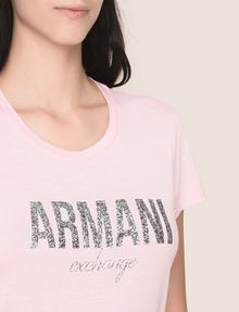 ARMANI EXCHANGE GLITTER SHOWER LOGO TEE Logo T-shirt Woman b