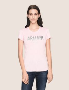 ARMANI EXCHANGE GLITTER SHOWER LOGO TEE Logo T-shirt Woman f