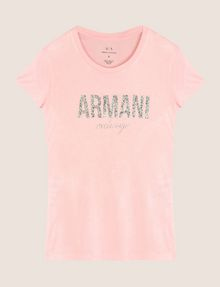 ARMANI EXCHANGE GLITTER SHOWER LOGO TEE Logo T-shirt Woman r