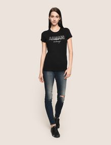 ARMANI EXCHANGE GLITTER SHOWER LOGO TEE Logo T-shirt Woman d