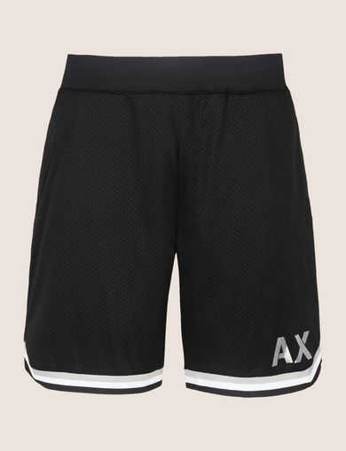STRIPED TRIM MESH ATHLETIC SHORT