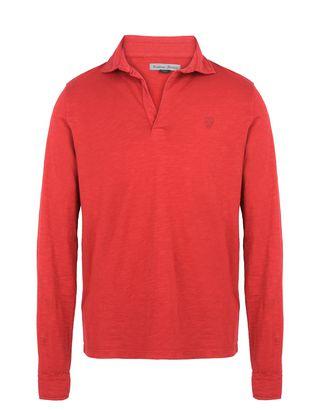 Scuderia Ferrari Online Store - Polo uomo maniche lunghe in jersey slub - Polo a Maniche Lunghe