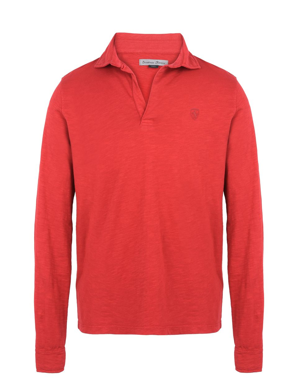 Scuderia Ferrari Online Store - Men's long-sleeve slub jersey polo shirt - Long Sleeve Polos