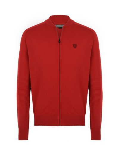 Scuderia Ferrari Online Store - Maglia con zip in filato di cotone italiano - Maglioni con Zip
