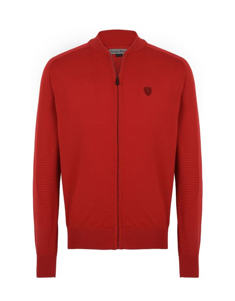 Scuderia Ferrari Online Store - Zip sweater in Italian cotton yarn -