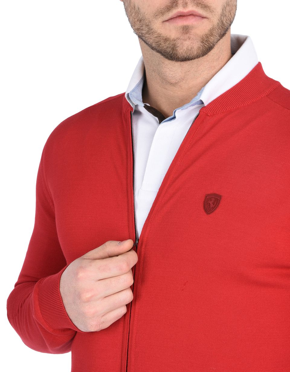 Scuderia Ferrari Online Store - Zipped sweater in Italian cotton yarn -
