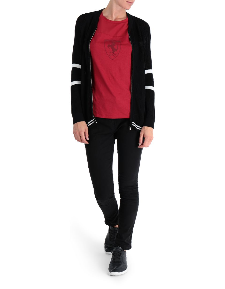 Scuderia Ferrari Online Store - Women's knit bomber jacket with full zipper - Zip Sweaters