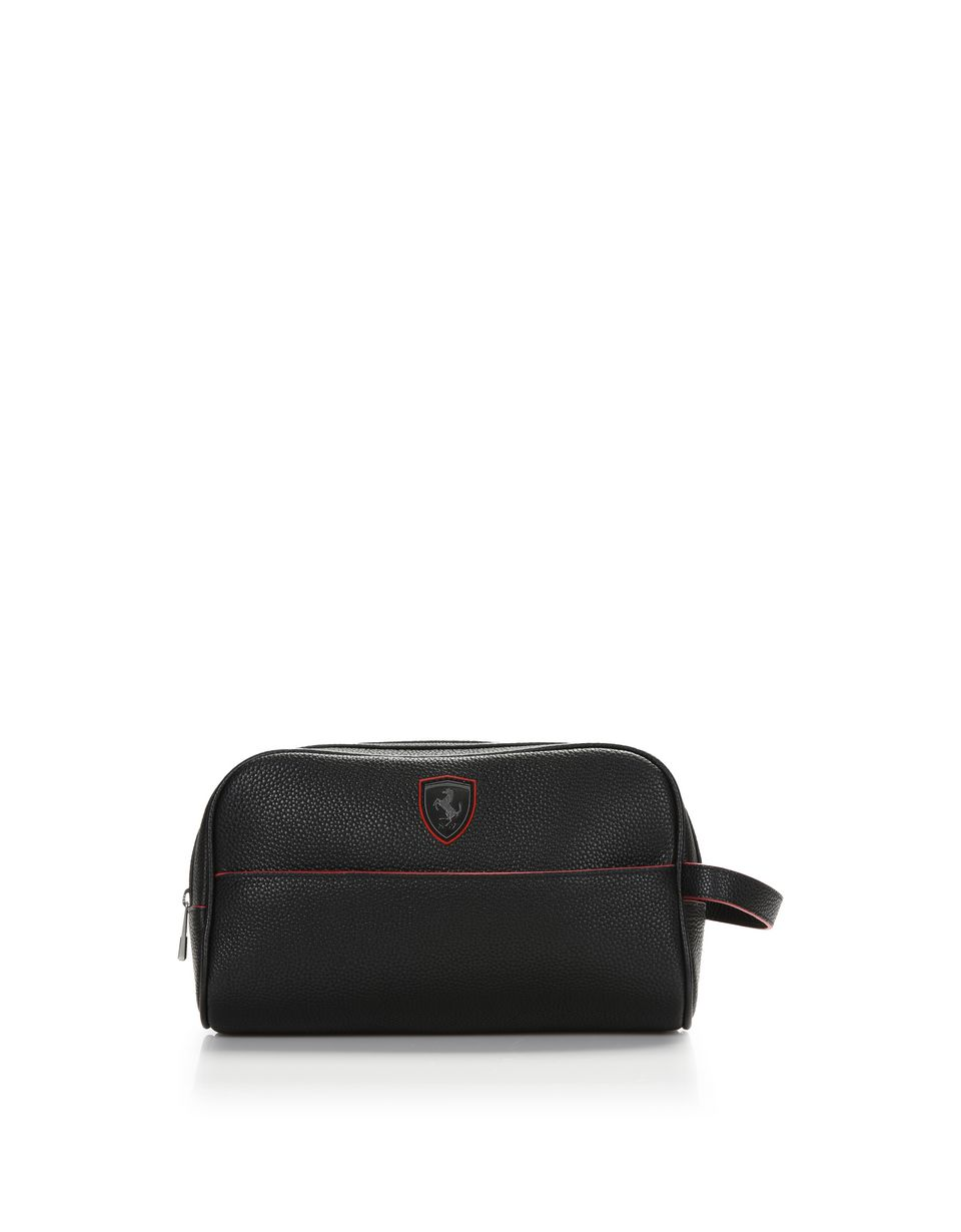 Scuderia Ferrari Online Store - Beauty case in hammered leather -