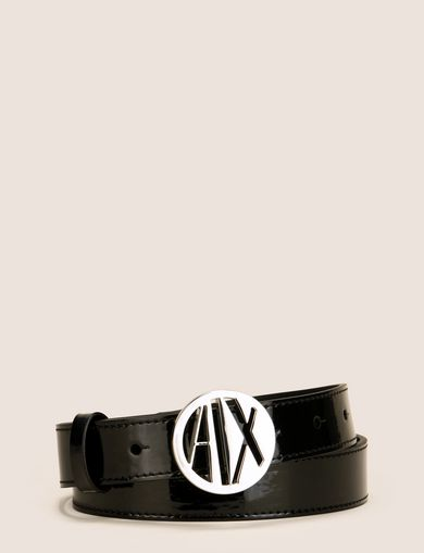 CIRCLE LOGO BUCKLE PATENT BELT