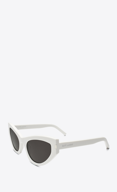 SAINT LAURENT NEW WAVE Woman new wave 215 grace sunglasses in ivory acetate with gray lenses b_V4
