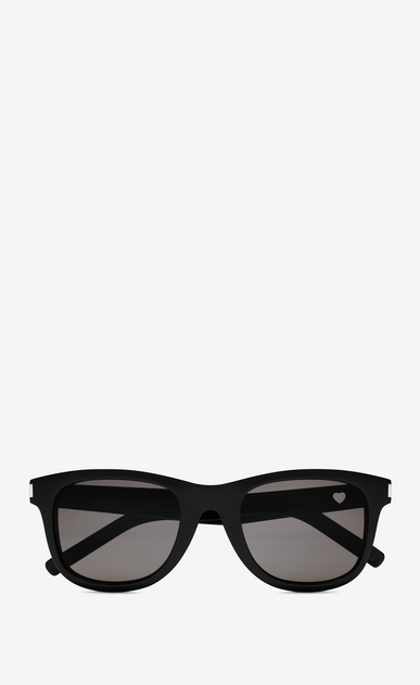 SAINT LAURENT CLASSIC Woman classic 51 heart sunglasses in black acetate with gray lenses a_V4
