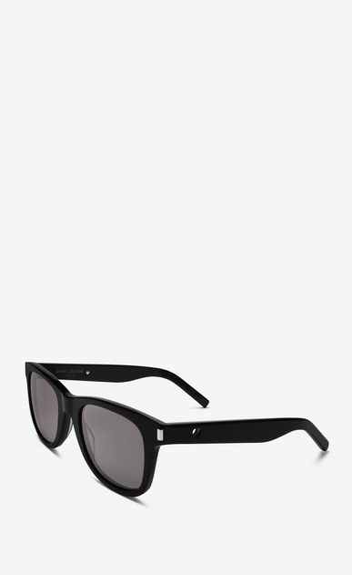 SAINT LAURENT CLASSIC Woman classic 51 heart sunglasses in black acetate with gray lenses b_V4