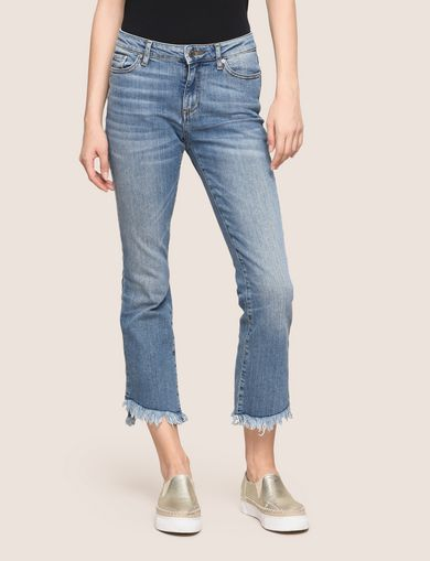 FRAYED HIGH-LOW HEM FLARE JEAN