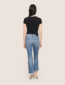 ARMANI EXCHANGE FRAYED HIGH-LOW HEM FLARE JEAN Flare Jean Woman e