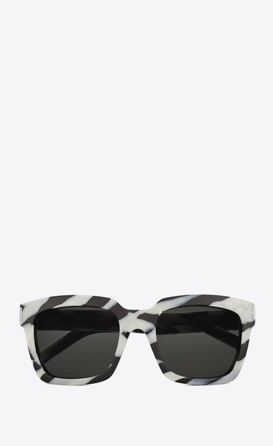 SAINT LAURENT BOLD Woman bold 1 sunglasses in black-and-white zebra-striped acetate and gray lenses a_V4