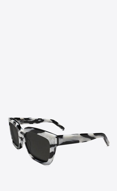 SAINT LAURENT BOLD Woman bold 1 sunglasses in black-and-white zebra-striped acetate and gray lenses b_V4