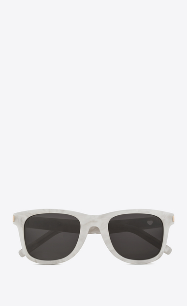 SAINT LAURENT CLASSIC Woman classic 51 heart sunglasses in pearly white acetate with gray lenses a_V4