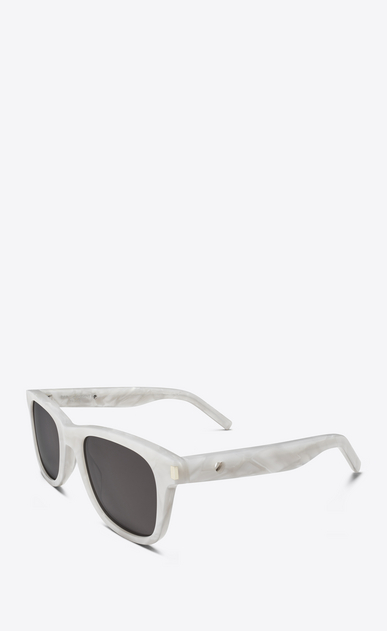SAINT LAURENT CLASSIC Woman classic 51 heart sunglasses in pearly white acetate with gray lenses b_V4
