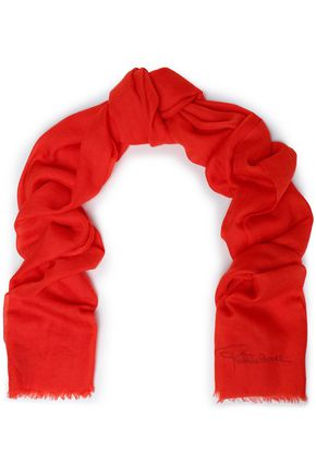 ROBERTO CAVALLI Frayed cashmere scarf