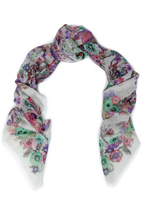 ROBERTO CAVALLI Floral-print cashmere and silk-blend gauze scarf