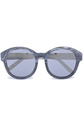 3.1 PHILLIP LIM Round-frame silver-tone and wooden sunglasses