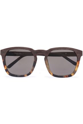 3.1 PHILLIP LIM D-frame tortoishell acetate and wooden sunglasses