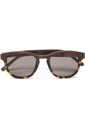 3.1 PHILLIP LIM D-frame wood and tortoiseshell acetate sunglasses