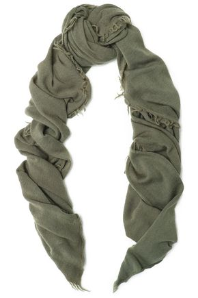 IRO Frayed wool and cashmere-blend scarf