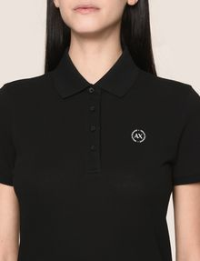 ARMANI EXCHANGE CLASSIC CIRCLE INSIGNIA POLO S/L Knit Top Woman b