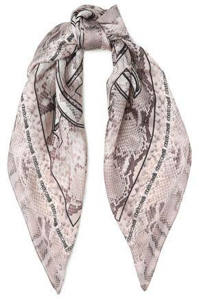 ROBERTO CAVALLI Snake-print silk scarf