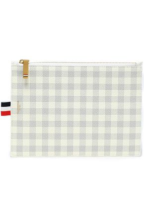 THOM BROWNE Gingham pebbled-leather pouch