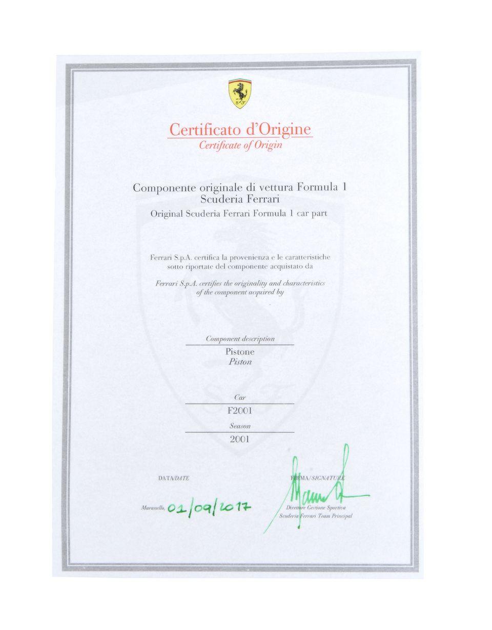 Scuderia Ferrari Online Store - F2001 Piston - Memorabilia F1