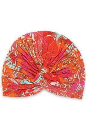 ROBERTO CAVALLI Ruched printed jersey turban