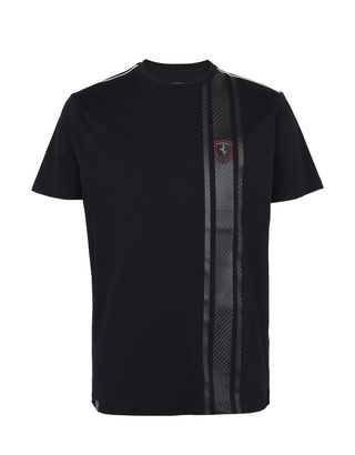 Scuderia Ferrari Online Store - Men's short-sleeve T-shirt with carbon fiber print - Short Sleeve T-Shirts